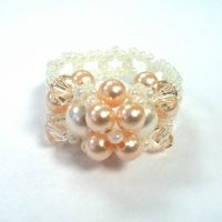 Peaches & Cream Crystal & Pearl Beadwork Ring Kit with SWAROVSKI® ELEMENTS